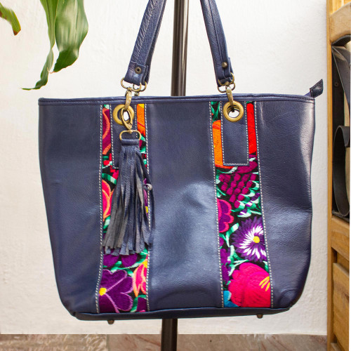 Embroidered Blue Leather Tote Handbag from Mexico 'Blue Chiapas Beauty'