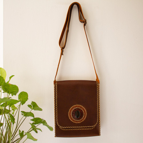 Genuine Brown Leather Messenger Bag with Agate 'Bajio Brown'
