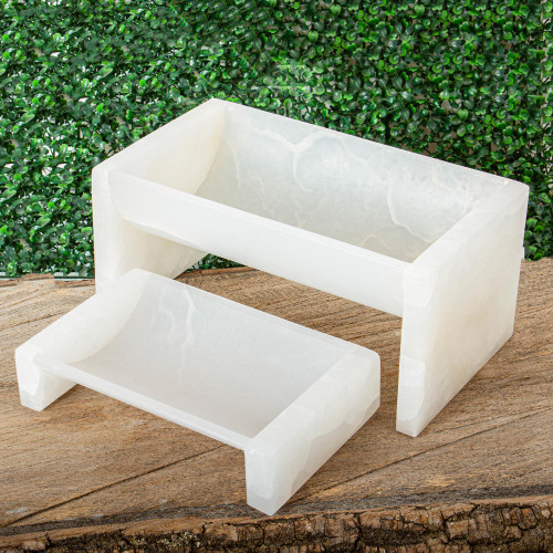 Natural White Onyx Planters Pair 'White Curves'