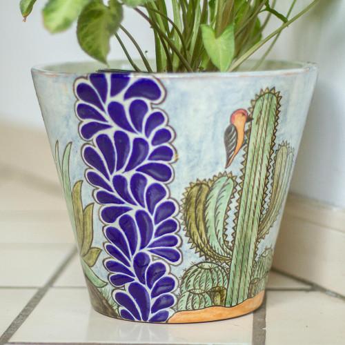 Hand Painted Cactus Motif Ceramic Planter from Puebla 'Puebla Flora'
