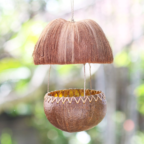 Handcrafted Coconut Shell Bird Feeder 'Forest Hut'