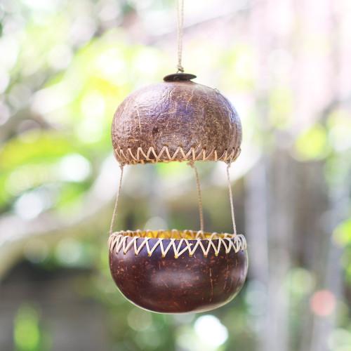 Handcrafted Coconut Shell Bird Feeder 'Kintamani House'