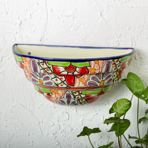 Half Round Talavera Style Ceramic Wall Planter 'Colorful Garden'