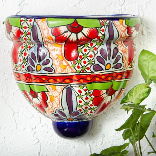 Ceramic Wall Planter Hand Crafted in Mexico 'Talavera Garden'