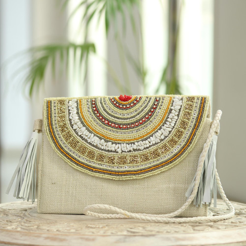 Leather-Accented Beaded Jute Shoulder Bag 'Bollywood Nights'