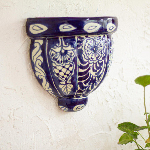 Cobalt Blue and White Ceramic Wall Planter 'Guanajuato Blues'