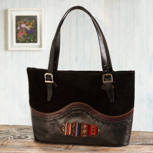 Leather and Suede and Wool Tote Bag 'Cusco Journey'