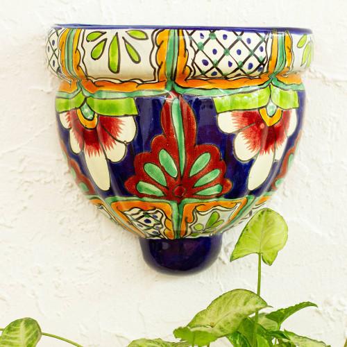 Handmade Talavera-Style Ceramic Wall Planter 'Garden Flowers'