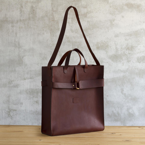 Minimalist Chestnut Leather Tote Bag 'World Class'