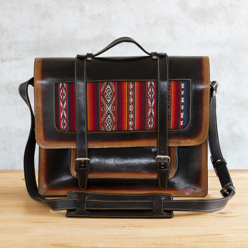 Hand Crafted Andean Leather and Wool Briefcase 'Cusco Classic'