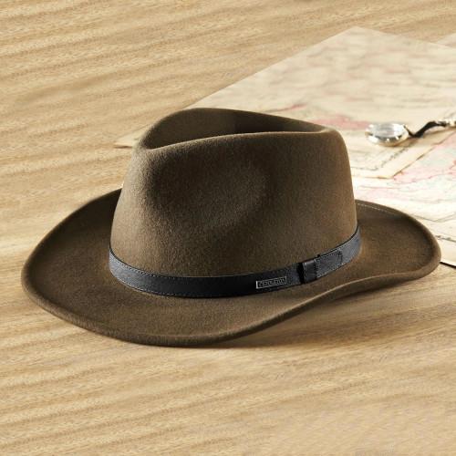 Men's Olive Wool Felt Hat with Black Leather Band 'Intrepid Explorer'