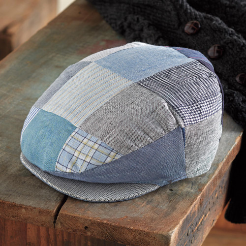 Blue Irish Linen Patchwork Cap 'Donegal Skies'