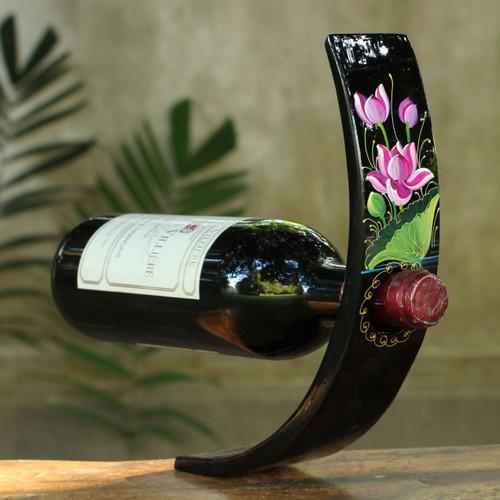 Black Lacquered Wood Wine Bottle Holder 'Pink Lotus'