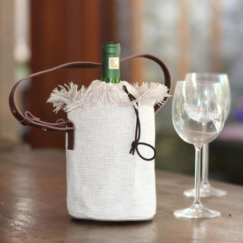 Elegant Cotton and Leather Wine Tote Bag 'Vineyard Picnic'