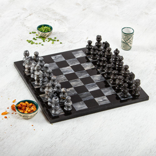 Handcrafted Mexican Marble Chess Set Game 'Check in Gray'