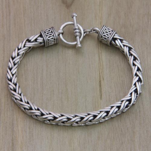 Men's Sterling Silver Chain Bracelet 'Passion'
