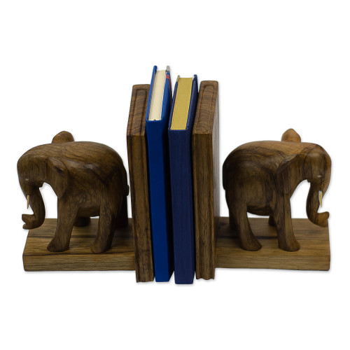 Hand Carved Wood Bookends 'African Elephants'