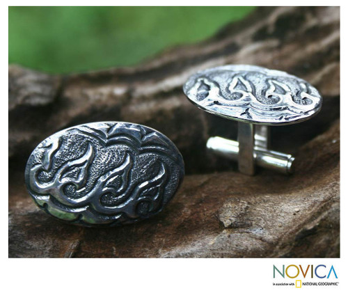 Men's Sterling Silver Cufflinks 'Hope for Victory'