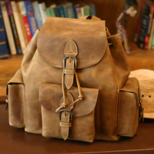 Hand Crafted Leather Backpack from Mexico 'Weathered in Honey Brown'