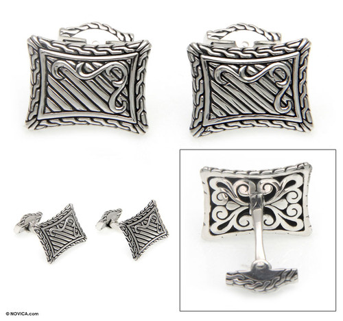 Handcrafted Sterling Silver Cufflinks from Indonesia 'Royal Fern'