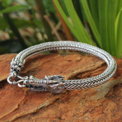 Men's Sterling Silver Dragon Chain Bracelet 'Ode to Nagas'