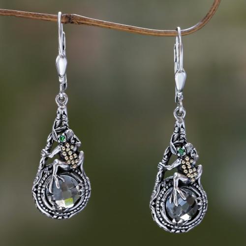 Prasiolite and Sterling Silver Dangle Earrings 'Tropical Frog'