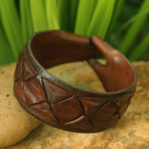 Men's Leather Wristband Bracelet 'Sukhothai Brown'