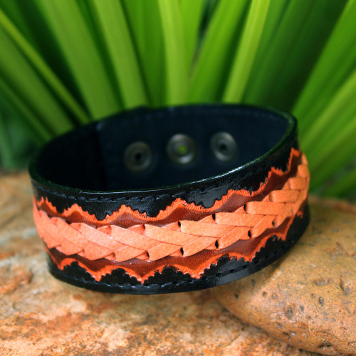 Men's Hand Made Leather Wristband Bracelet 'Bangkok Casual'