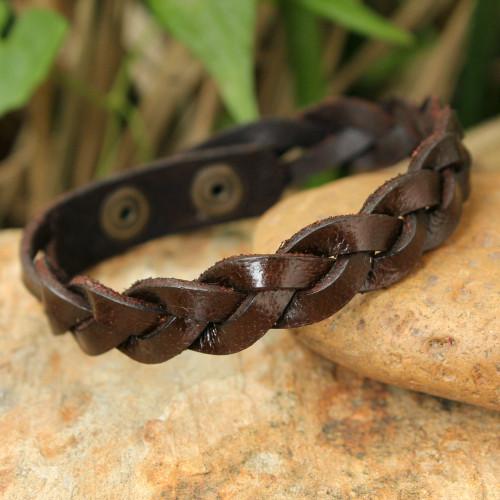 Men's Leather Wristband Bracelet 'Three Rivers'