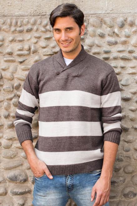 Men's Alpaca Wool Pullover Sweater 'Cortijo Man in Beige'