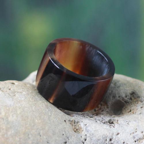 Handmade Men's Horn Band Ring 'Brown Eagle Essence'