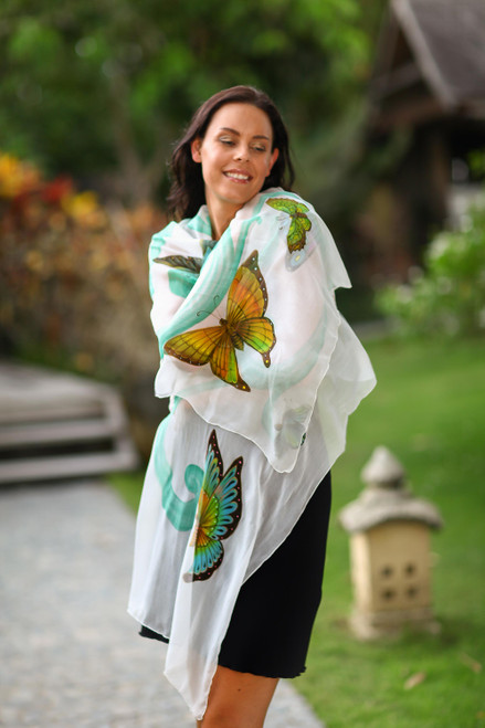 Hand Crafted Silk Painted Shawl from Indonesia 'Balinese Butterflies'
