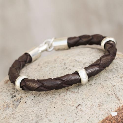 Men's leather bracelet 'Chankas Warrior in Dark Brown'