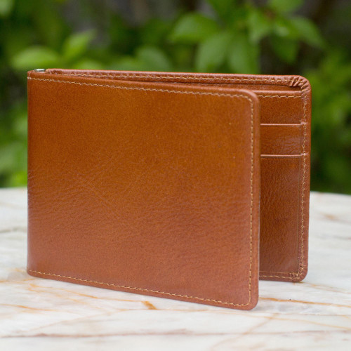 Men's leather wallet 'Credit to Brown'