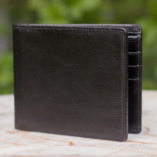 Men's leather wallet 'Credit to Black'