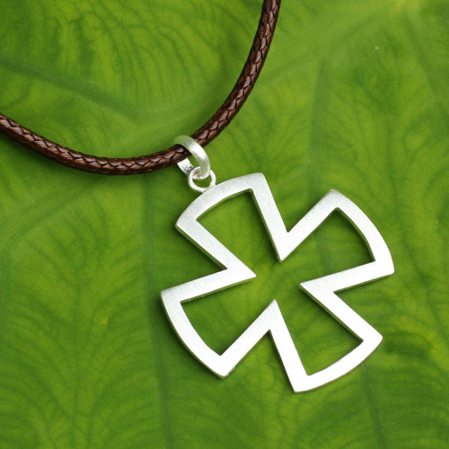Sterling Silver Cross Necklace for Men Jewelry 'Crusaders'