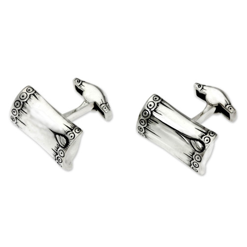 Artisan Crafted Sterling Silver Cufflinks 'Tropical Bamboo'