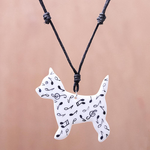 Music-Themed Ceramic Dog Pendant Necklace from Thailand 'Dog Melody'