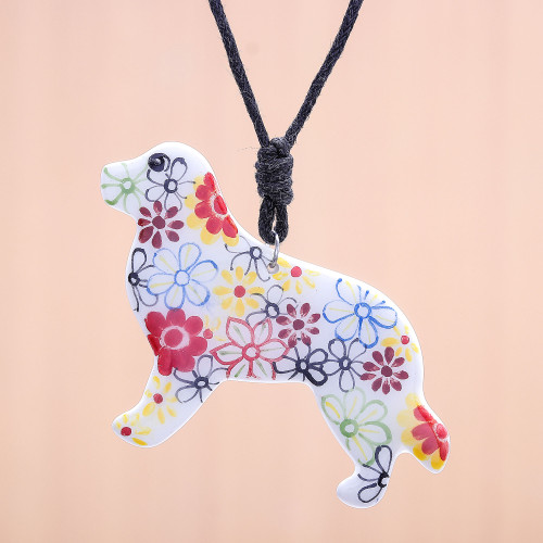 Ceramic Dog Pendant Necklace with Painted Floral Motifs 'Floral Dog'