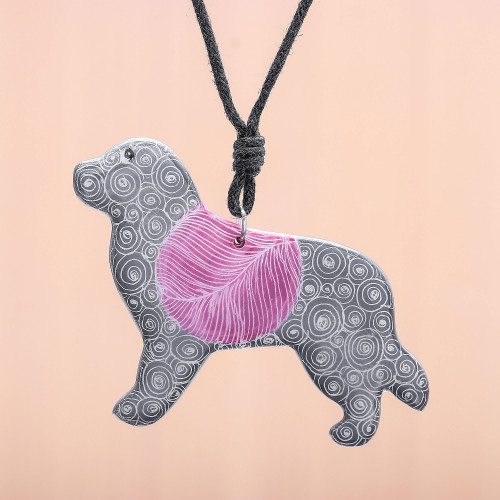 Ceramic Dog Pendant Necklace with Purple Painted Motifs 'Cosmic Dog'