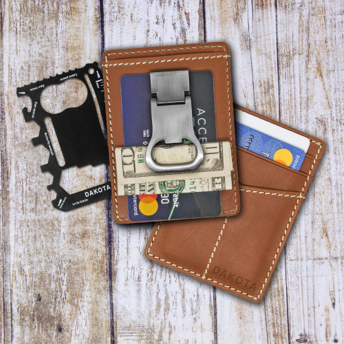 All-in-One Leather Card Case and Multi tool with Money Clip 'Paramount'