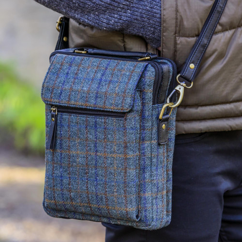 Irish Wool Plaid Shoulder Bag with Adjustable Strap 'Killarney Mist'