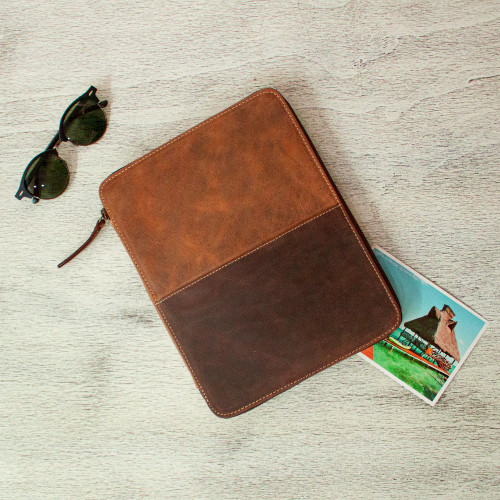 Brown Leather Tablet and Travel Case 'On the Move'