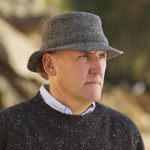 Grey Irish Wool Tweed Walking Hat 'Highland Walk'