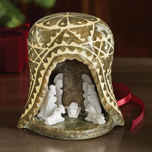 Peruvian Huamanga Stone Nativity 'Christmas is Peace'
