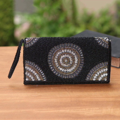 Circle Pattern Beaded Clutch in Black from Bali 'Circle of Beauty in Black'