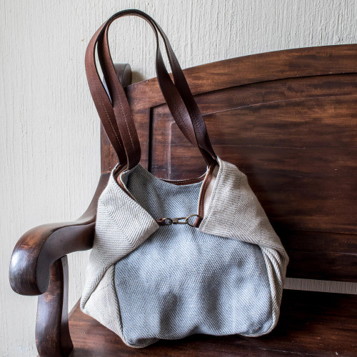 Undyed Recycled Denim and Cotton Shoulder Bag from Guatemala 'Celeste'