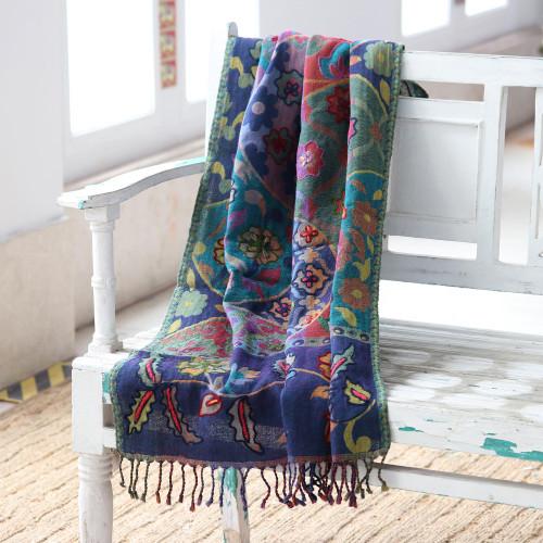 Floral Motif Jacquard Wool Shawl 'Garden Patchwork'