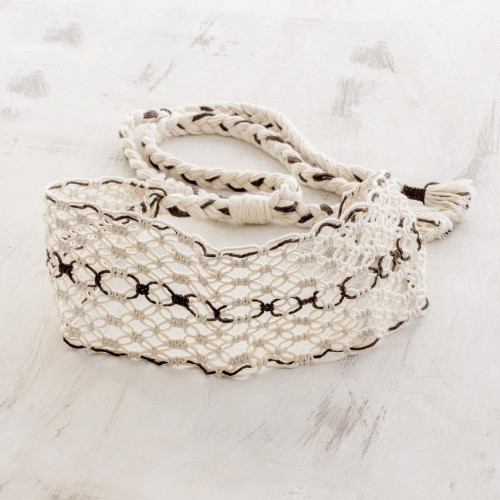 Handcrafted Ivory with Brown Stripe Cotton Macram Headband 'Spiced Vanilla'