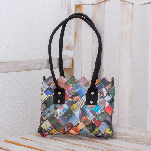 Handcrafted Multicolor Recycled Magazine Paper Shoulder Bag 'Modern Collage'